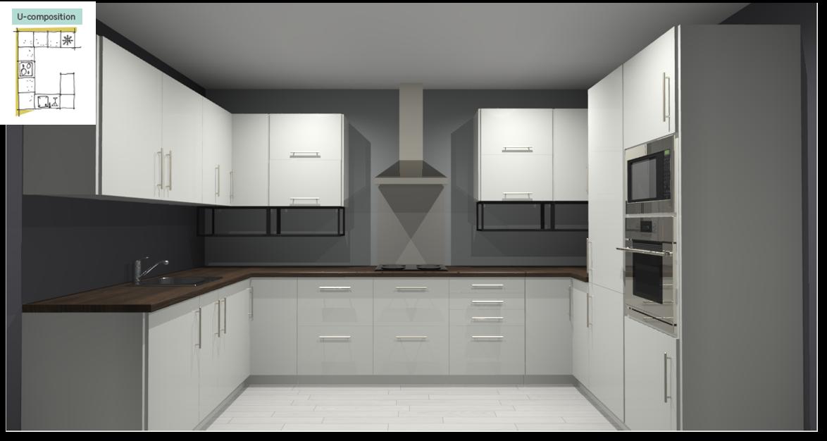 Sevilla White Inspirational kitchen layout examples - Example 4