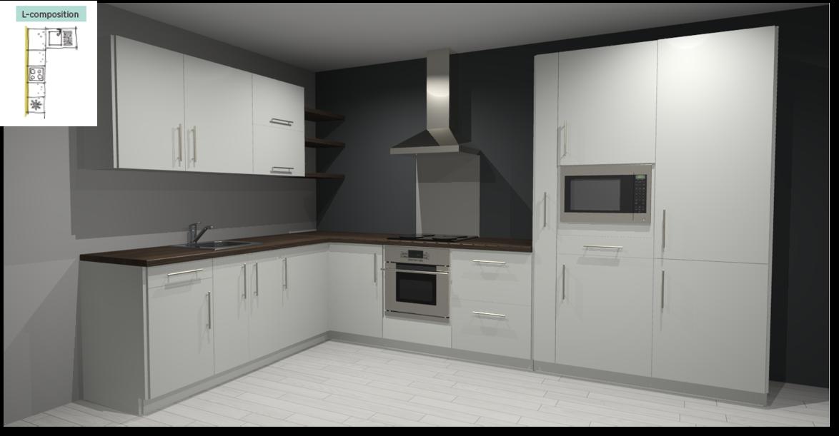 Sevilla White Inspirational kitchen layout examples - Example 2
