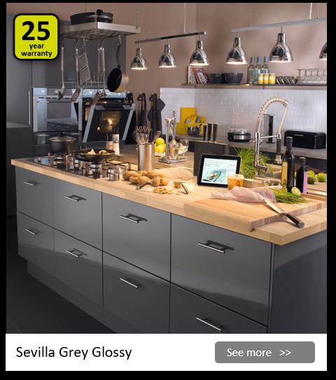Explore the Delinia Sevilla Grey kitchen range. Be inspired.