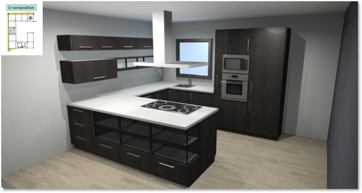 Siena Inspirational kitchen layout examples - Example 5