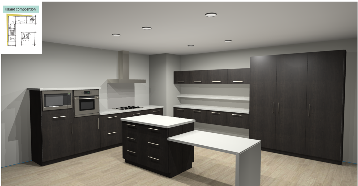 Siena Inspirational kitchen layout examples - Example 3