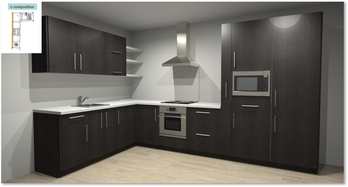 Siena Inspirational kitchen layout examples - Example 2