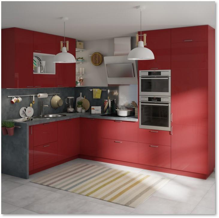 Delinia Sevilla Red Designer Kitchen - Example 1