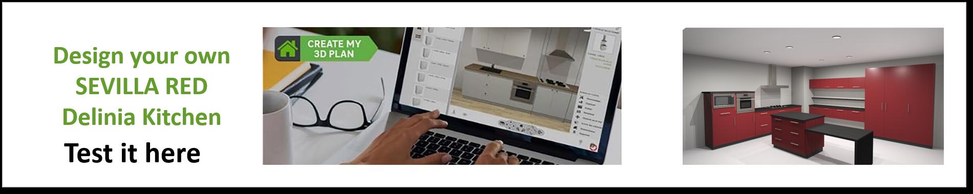 Create or Design your own Delinia Sevilla Red Designer Kitchen