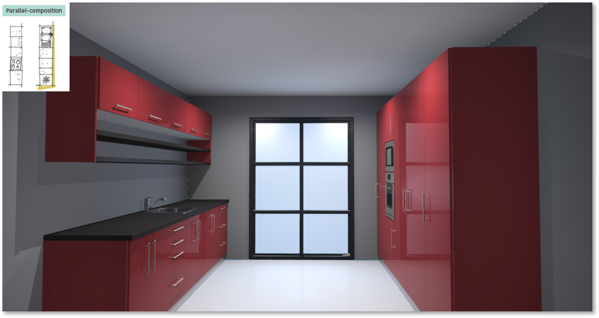 Sevilla Red Inspirational kitchen layout examples - Example 5