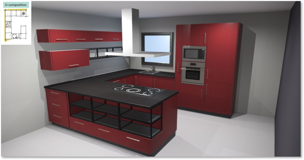 Sevilla Red Inspirational kitchen layout examples - Example 3