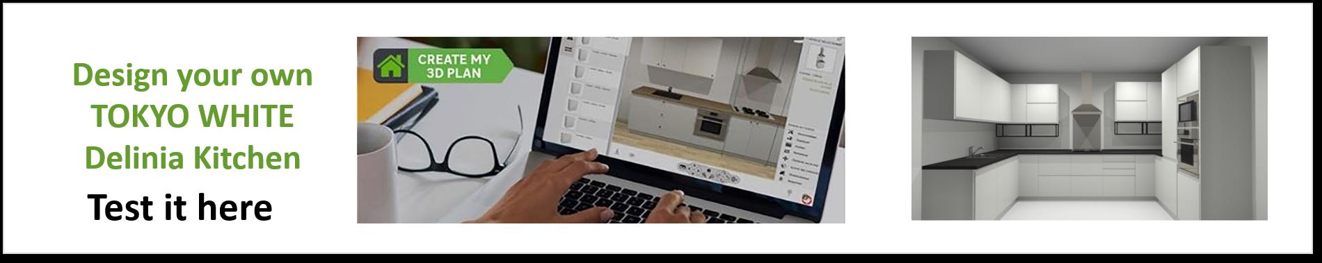 Create or Design your own Delinia Tokyo White Designer Kitchen