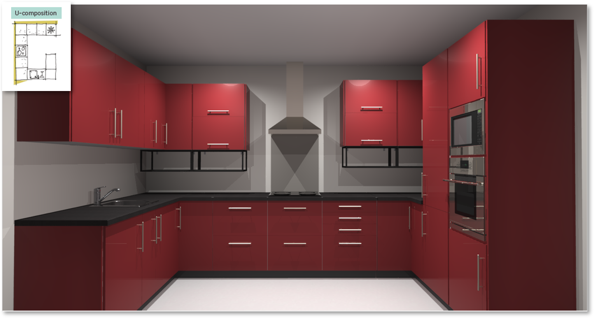 Sevilla Red Inspirational kitchen layout examples - Example 4