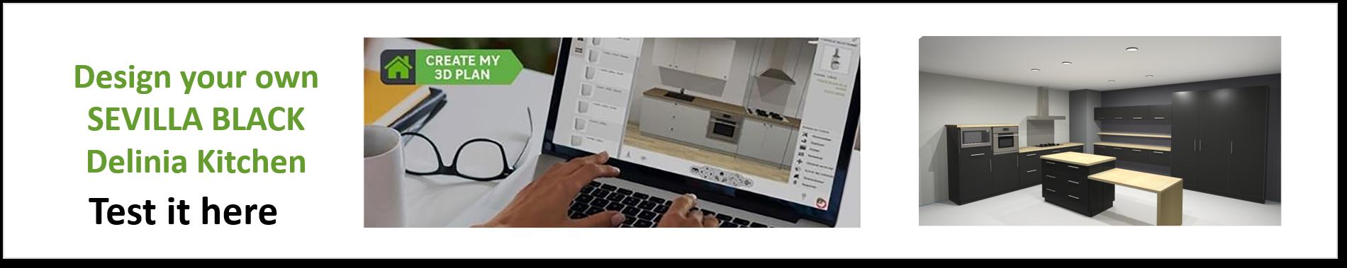 Create or Design your own Delinia Sevilla Black Designer Kitchen