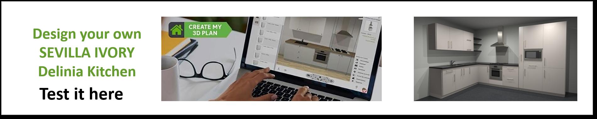 Create or Design your own Delinia Sevilla Ivory Designer Kitchen