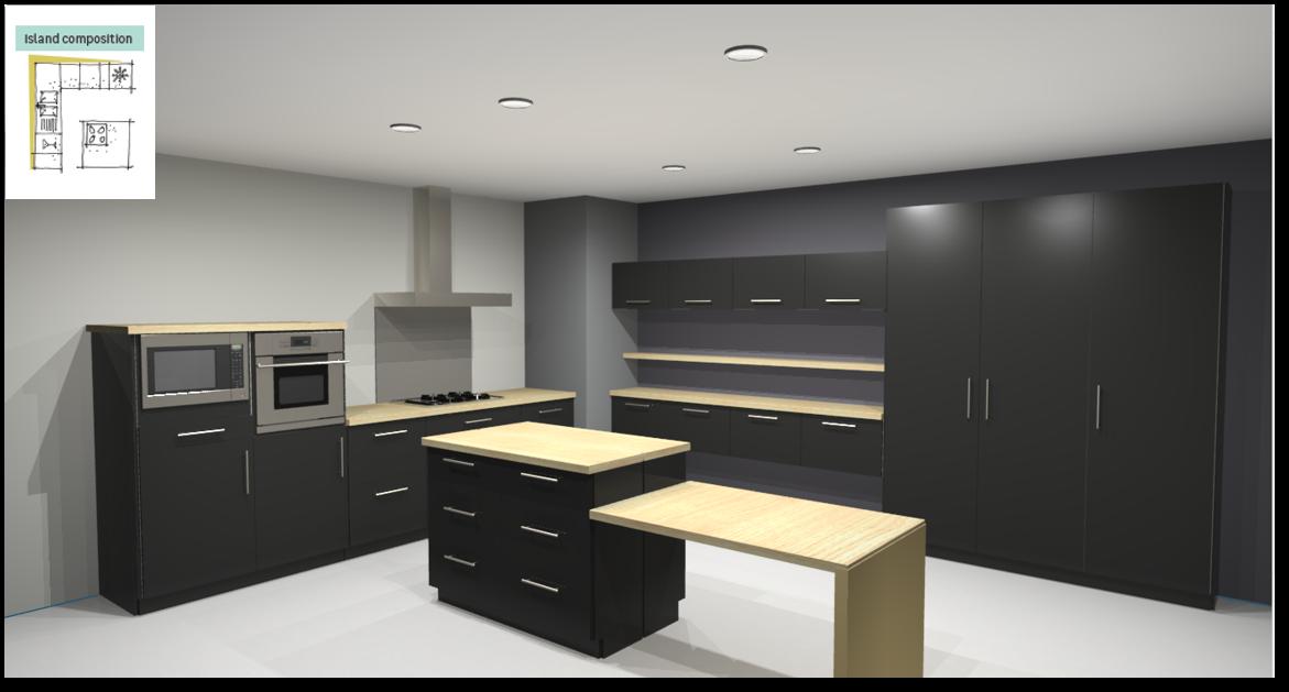 Sevilla Black Inspirational kitchen layout examples - Example 6