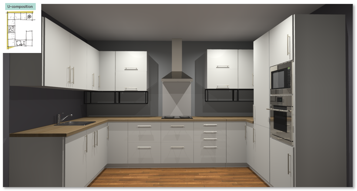 Sofia White Inspirational kitchen layout examples - Example 4