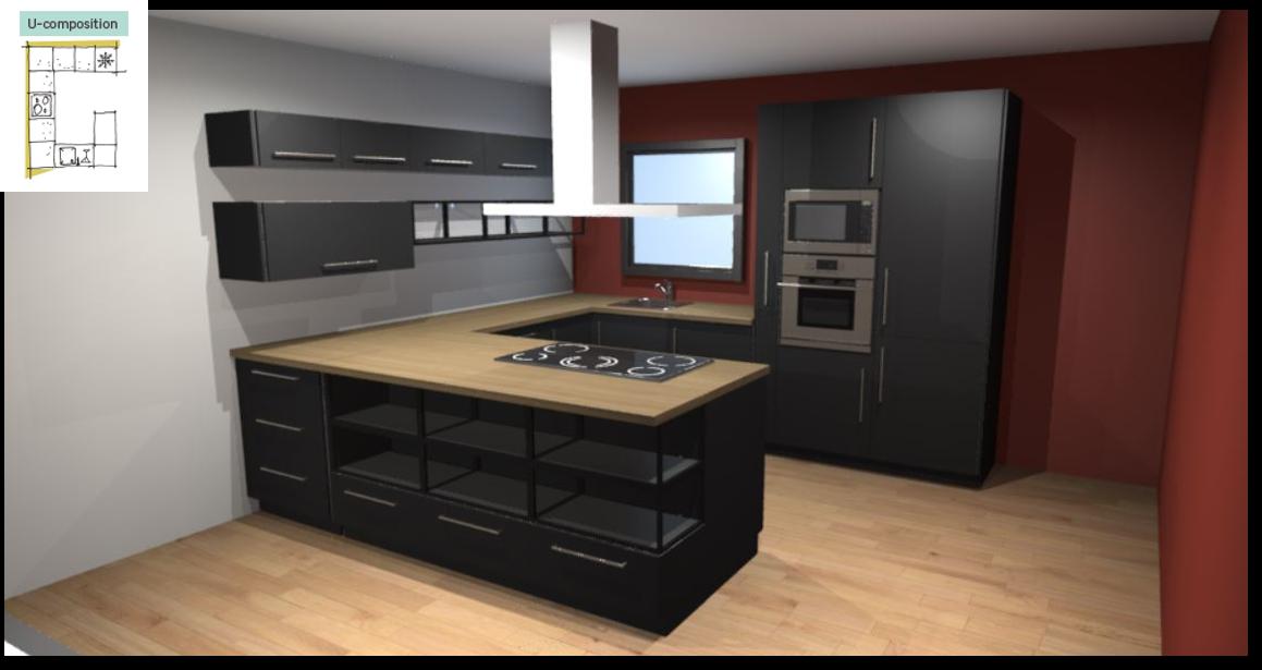 Soho Black Inspirational kitchen layout examples - Example 3