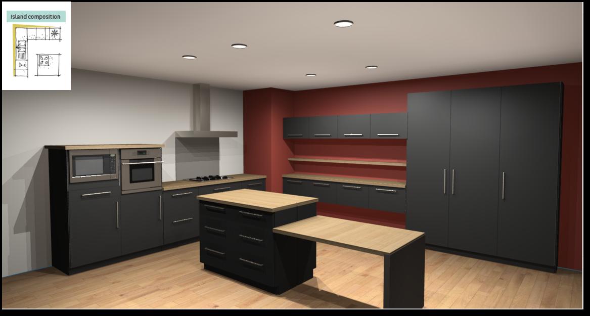 Soho Black Inspirational kitchen layout examples - Example 6