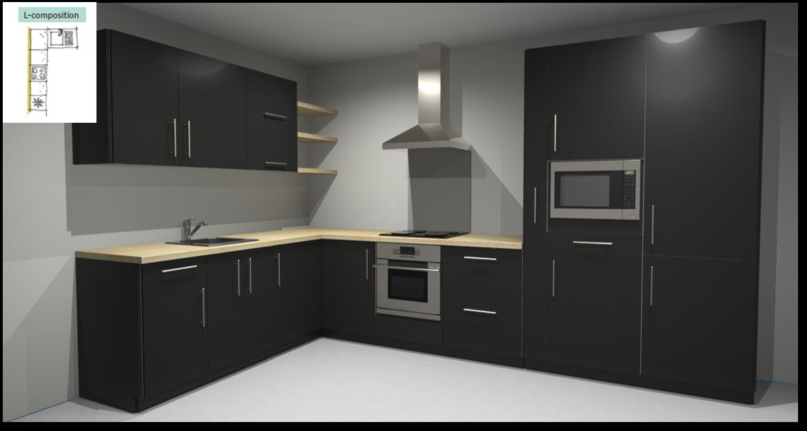 Sevilla Black Inspirational kitchen layout examples - Example 2