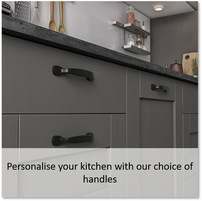 Personalise your kitchen with our choice of handles
