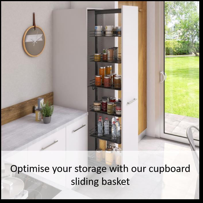 Optimize kitchen storage with sliding baskets