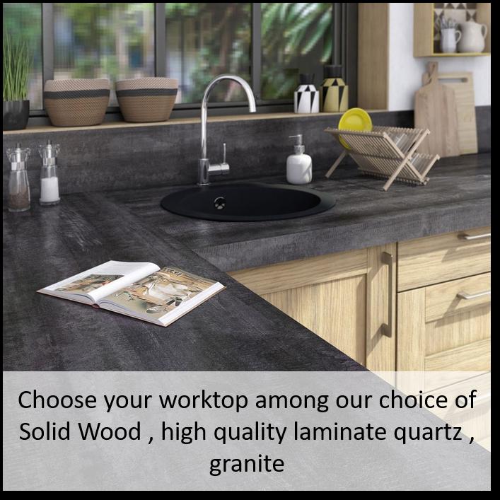 Delinia kitchen worktops consist of solid wood, high quality laminate, quartz & granite options