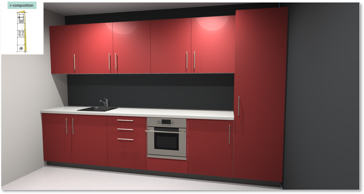 Sofia Red Inspirational kitchen layout examples - Example 1