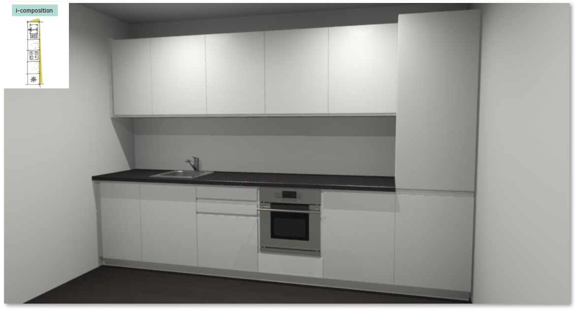 Tokyo White Inspirational kitchen layout examples - Example 1