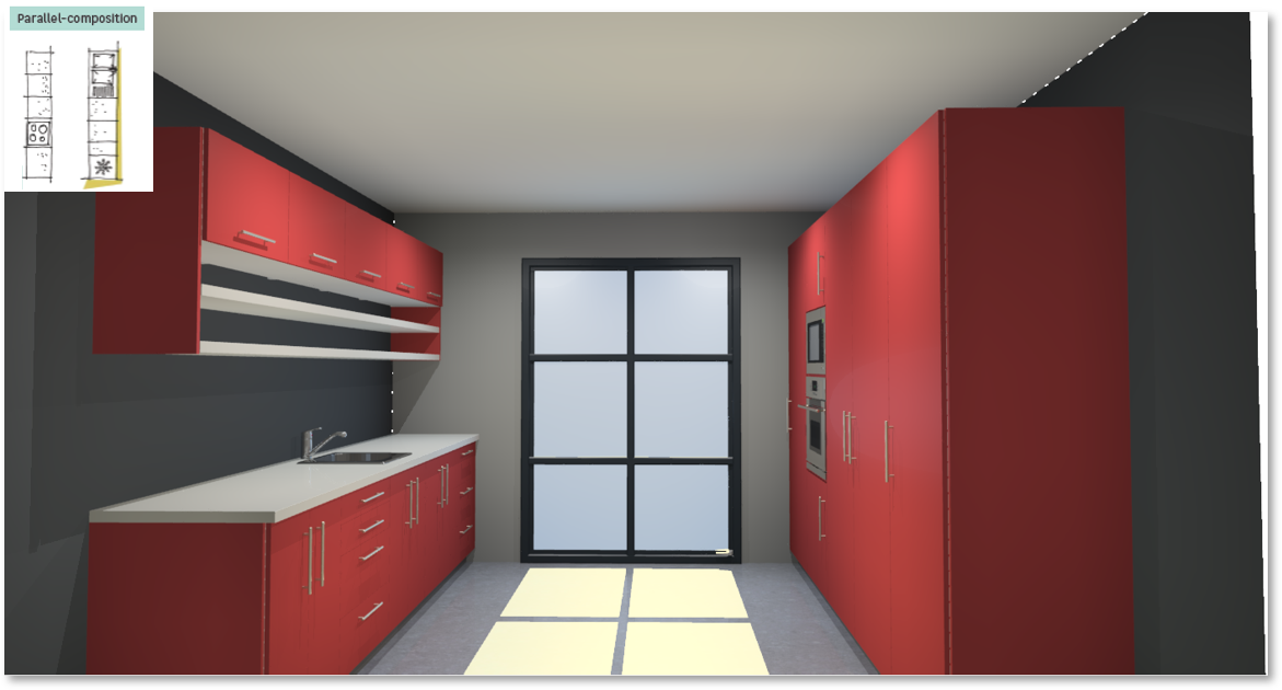 Sofia Red Inspirational kitchen layout examples - Example 5