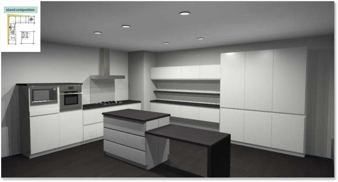 Tokyo White Inspirational kitchen layout examples - Example 6