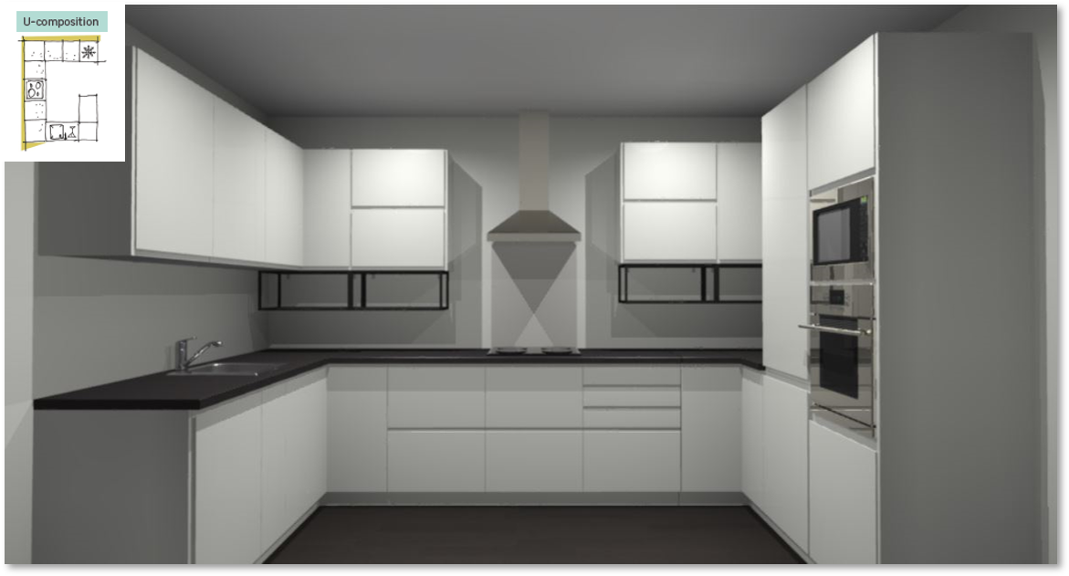 Tokyo White Inspirational kitchen layout examples - Example 4
