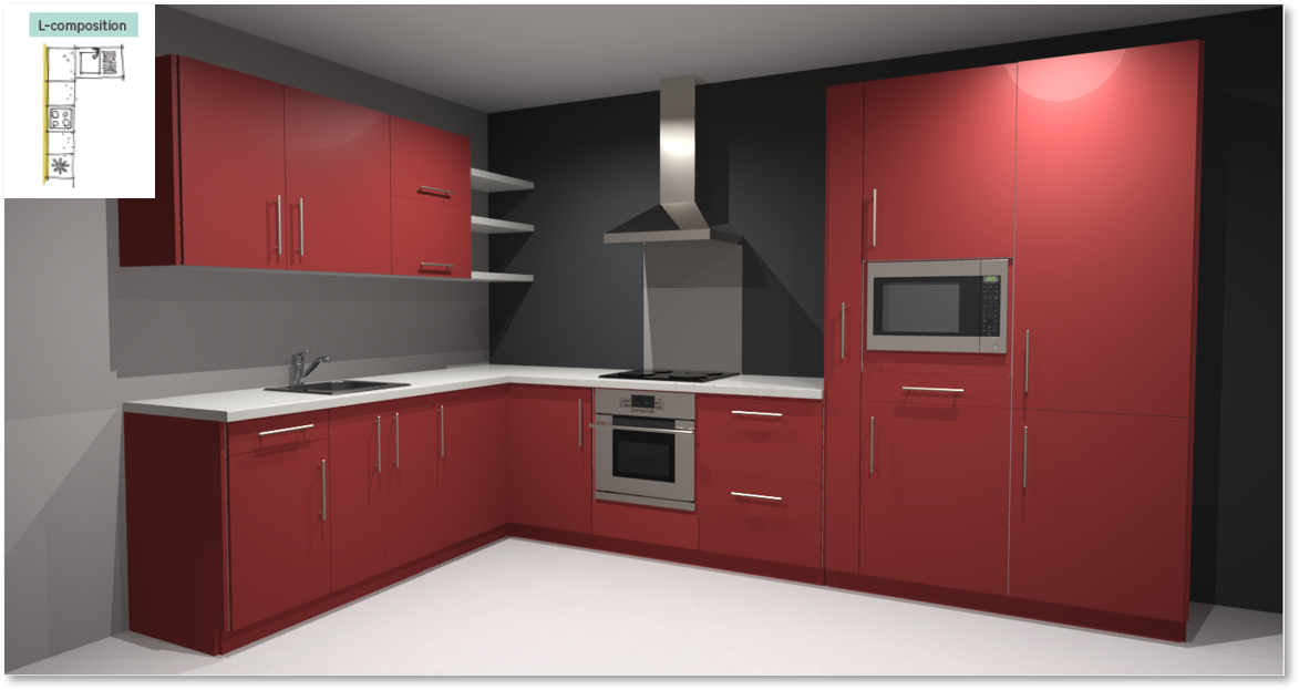 Sofia Red Inspirational kitchen layout examples - Example 2