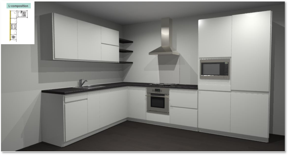 Tokyo White Inspirational kitchen layout examples - Example 2