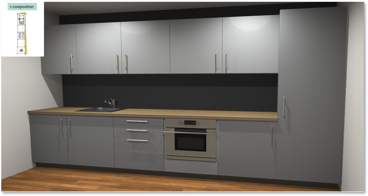 Sofia Grey Inspirational kitchen layout examples - Example 1