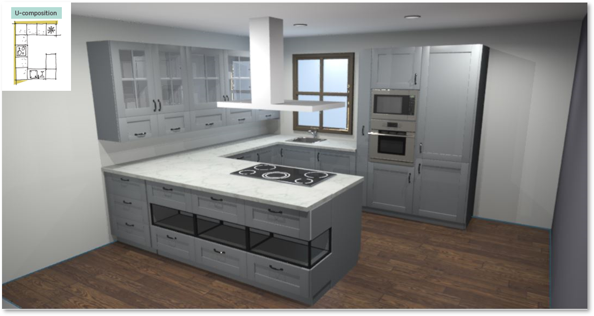 Inspirational kitchen layout examples - Example 3