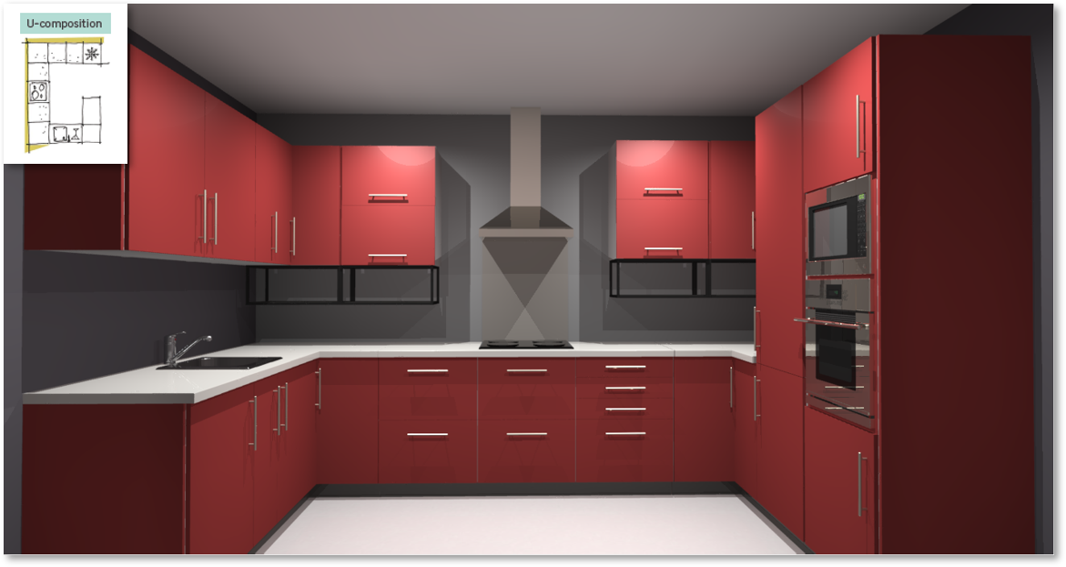 Sofia Red Inspirational kitchen layout examples - Example 4