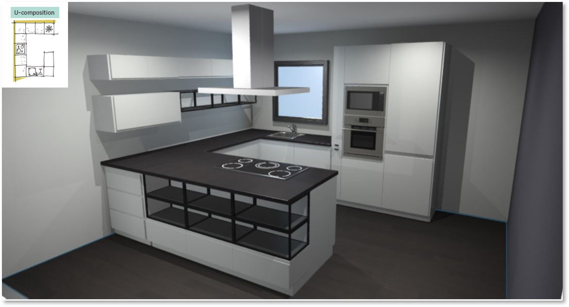 Tokyo White Inspirational kitchen layout examples - Example 3